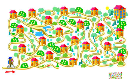 Logic puzzle game with labyrinth for children and adults. Help the little bear find the way to the school. Worksheet for kids brain teaser book. IQ test. Play online. Vector illustration. Иллюстрация