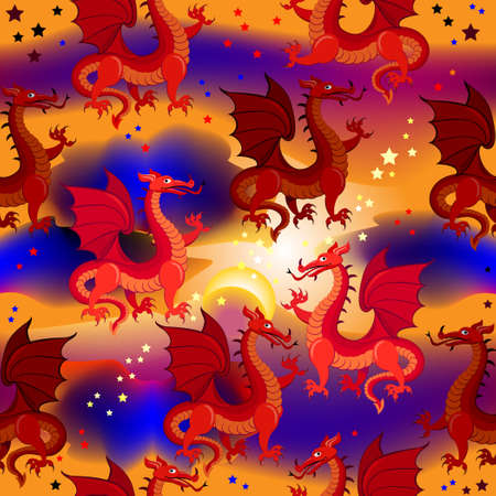 Seamless pattern ornament with fantastic eastern red dragons. Modern popular Asian print ornate for wall-paper and textile. Vector cartoon illustration. Zdjęcie Seryjne - 161968911