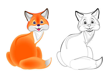 Colorful and black and white page for coloring book. Illustration of cute little fox. Printable worksheet for children exercise book. Online education. Flat cartoon vector. Animals for kids.