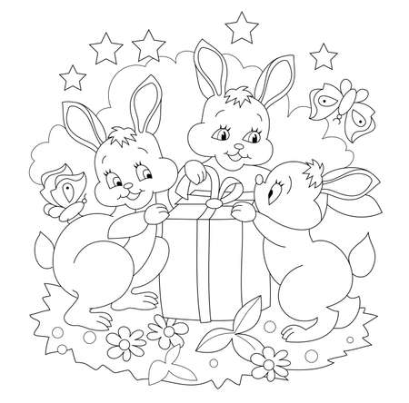 Black and white illustration for coloring book. Family of cute bunnies opens an Easter gift. Printable page for kids exercise book. Worksheet for drawing and meditation for children and adults. Ilustración de vector