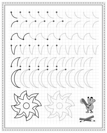 Educational page on square paper for kids. Black and white printable worksheet for children school textbook. Developing skills of counting, drawing, writing and tracing. Sheet for online education. Zdjęcie Seryjne - 162342706