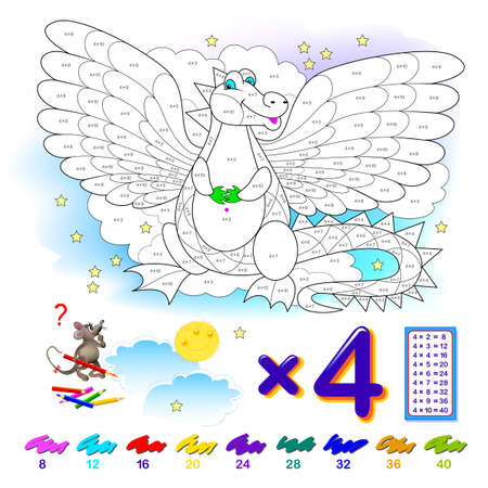 Multiplication table by 4 for kids. Math education. Coloring book. Solve examples and paint the dragon. Logic puzzle game. Printable worksheet for children school textbook. Play online.