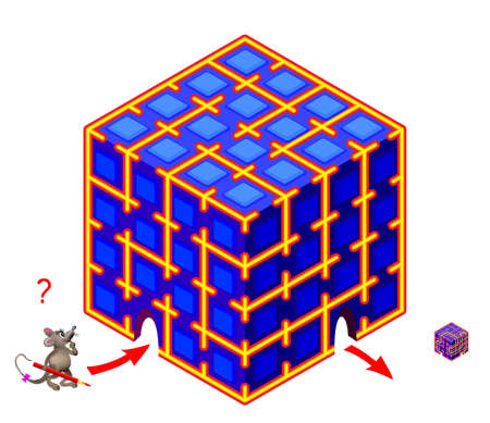 Logic puzzle game with labyrinth for children and adults. Help the mouse find the way through the magic cube. Worksheet for kids brain teaser book. IQ test. Play online. Vector illustration.