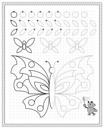 Educational page on square paper for kids. Black and white printable worksheet for children school textbook. Developing skills of counting, drawing, writing and tracing. Sheet for online education. Ilustracja