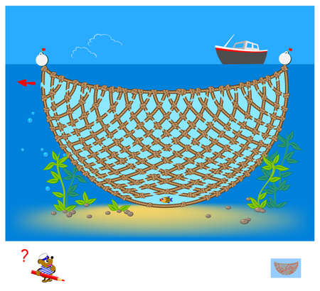 Logic puzzle game with labyrinth for children and adults. Help the fish get out of the fishing nets. Find the way. Worksheet for kids brain teaser book. IQ test. Play online. Vector illustration. Zdjęcie Seryjne - 162342724