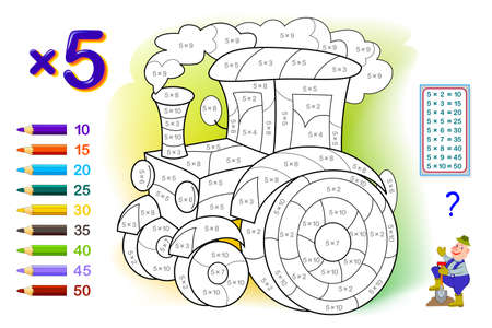 Multiplication table by 5 for kids. Math education. Coloring book. Solve examples and paint the tractor. Logic puzzle game. Printable worksheet for children school textbook. Play online.