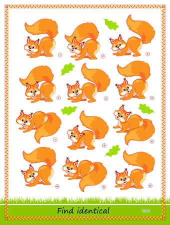 Logic puzzle game for children and adults. Find two identical squirrels. Memory training exercises for seniors. Printable page for kids brain teaser book. IQ test. Play online.