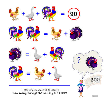 Math logic puzzle game for smartest. Help the housewife to count how many turkeys she can buy for $ 300. Page for brain teaser book. Play online. IQ test. Memory training for seniors. Ilustracja