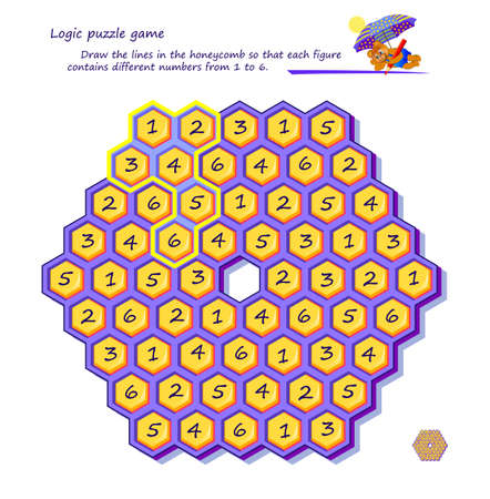 Logic puzzle game for children and adults. Draw the lines in the honeycomb so that each figure contains different numbers from 1 to 6. Printable page for brain teaser book. IQ test. Play online. Ilustracja
