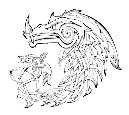 Black and white page for coloring book. Fantasy illustration of dragon. Animal from ancient legend with Celtic knot decoration. Print for fabric, logo and tattoo. Sheet for drawing and meditation.
