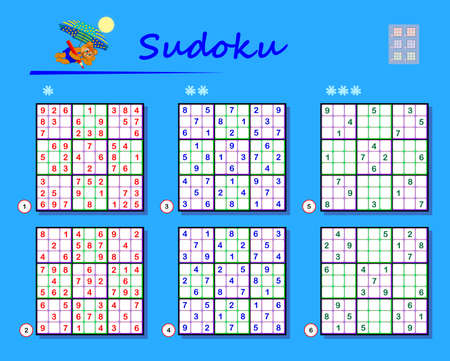 Set of Sudoku puzzles. Different levels. Logic game for children and adults. Play online. Memory training exercises for seniors. Printable page for brain kids teaser book. IQ test.