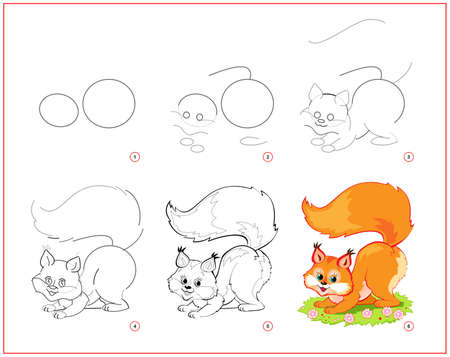 How to draw cute little squirrel. Educational page for children. Creation step by step animal illustration. Printable worksheet for kids school exercise book. Online education. Ilustracja