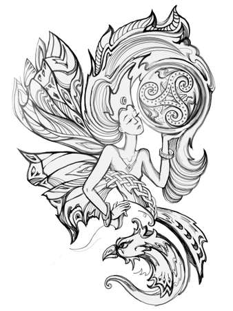 North goddess. Beautiful fantasy Celtic fairy holding triple trickle symbol. Illustration for an old medieval Breton legend with Celtic knot decoration. Pencil drawing. Black and white image.