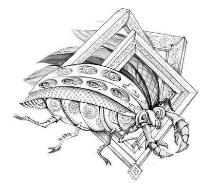 Illustration of fairyland fantasy bug. Pencil drawing. Steam punk insect. Print for fabric or tattoo. Black and white image.