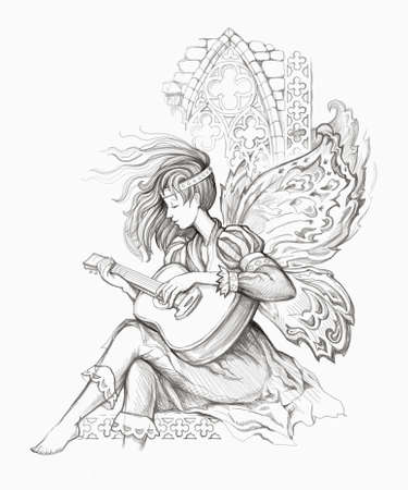 Fairy of music. Fantasy portrait of beautiful girl from medieval legend playing guitar. Pencil drawing. Black and white illustration. Print for fabric or tattoo. Zdjęcie Seryjne
