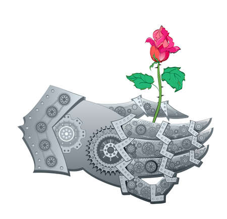 Stylized Steampunk hand giving flower. Artificial Intelligence. High tech digital technology. Abstract background. Greeting card. Scientific research in biology, physics and nanotechnologies. Ilustracja