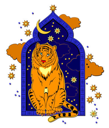 Fantasy tiger sitting on the window. Illustration for eastern legend. Cover for children fairy tale book. Print for t-shirts and decoration. Printable animals for kids. Flat clip-art cartoon vector. Ilustracja