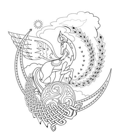 Drawing of fairy tale horse with ethnic decoration. Ancient legend illustration. Black and white page for coloring book. Print for fabric, logo, tattoo. Sheet for drawing and meditation. Ilustracja