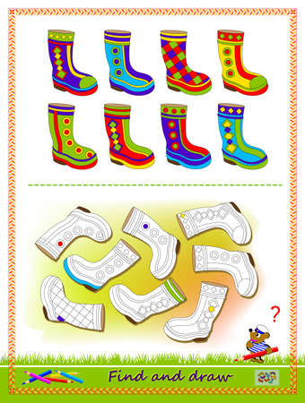 Educational game for kids. Find the pairs for all the boots and draw them by example. Worksheet for children school textbook. Developing coloring and drawing skills. Baby coloring book. Play online. Ilustracja
