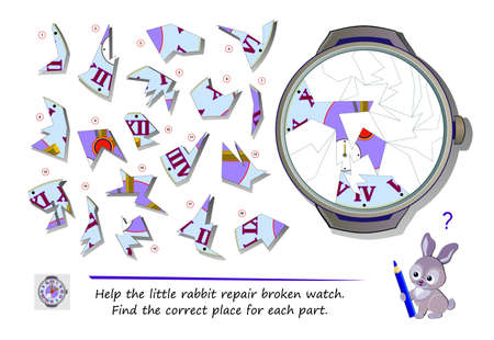 Logic puzzle game for children and adults. Help the little rabbit repair broken watch. Find the correct place for each part. Page for kids brain teaser book. Developing spatial thinking. Play online. Ilustracja