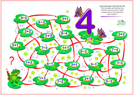 Math education for children. Logic puzzle game with maze for kids. Solve examples and help the frog find the way from start to finish jumping only on the water lilies with number 4. Play online. Ilustracja