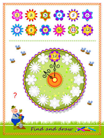 Educational game for kids. Find correct places for all numbers and draw the flower clock. Coloring book. Worksheet for children school textbook. Developing coloring and drawing skills. Play online.