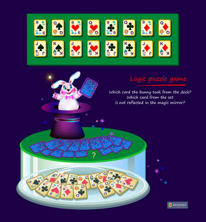 Logic puzzle game for children and adults. Which card the bunny took from deck? Which is not reflected in magic mirror? Page for kids brain teaser book. Developing spatial thinking. Play online.