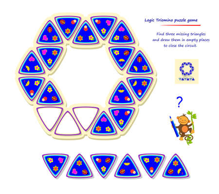 Logic Triomino puzzle game. Find three missing triangles and draw them in empty places to close the circuit. Page for brain teaser book. Memory exercise for seniors. Developing spatial thinking.