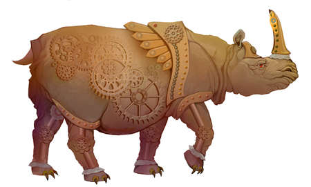 Warlike gold rhinoceros in military armor. Steampunk style. Illustration of fantastic mechanical animal. Image of imaginary legendary monster for playing games. Digital drawing.