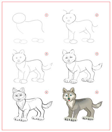 How to draw cute little wolf. Educational page for children. Creation step by step animal illustration. Printable worksheet for kids school exercise book. Online education. Ilustracja