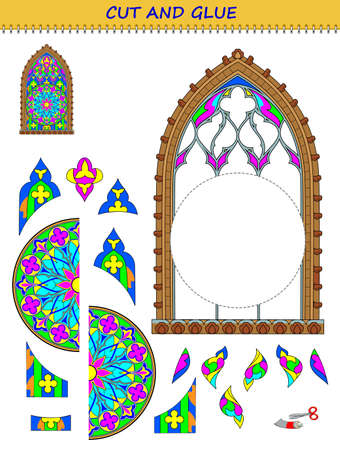 Educational page for children. Printable template with exercise for kids. Using scissors to cut and glue the stain glass Gothic window. Developing skills for cutting and handwork. Flat cartoon. Ilustracja