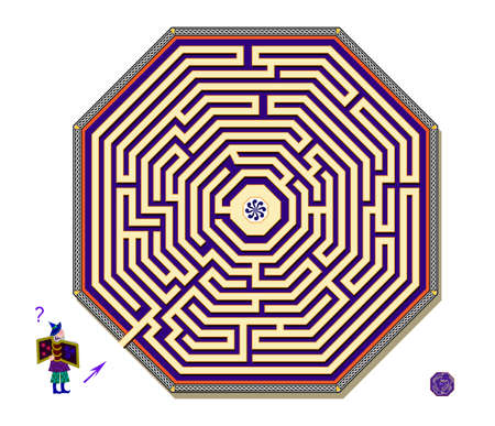 Logic puzzle game with octagonal labyrinth for children and adults. Help the wizard find the way to the center of maze. Worksheet for kids brain teaser book. IQ test. Play online.