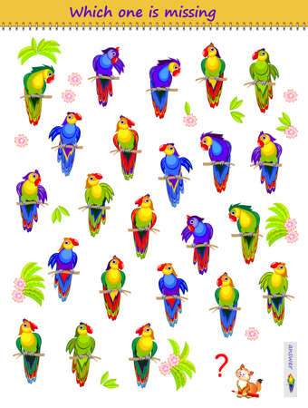 Find the pair for each parrot. Which is the only one? Logic puzzle game for children and adults. Printable page for kids brain teaser book. IQ test. Play online. Memory training task for seniors. Ilustracja