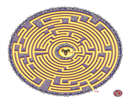 Help the minotaur find the way out of legendary Daedalus labyrinth. Logic puzzle game with maze for children and adults. Worksheet for kids brain teaser book. IQ test. Play online. Ilustracja