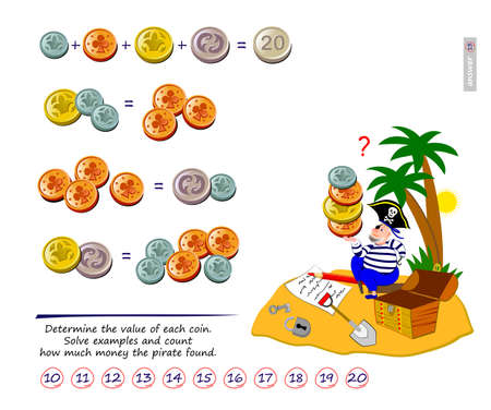 Math logic puzzle game for smartest. Determine the value of each coin. Solve examples and count how much money the pirate found. Page for brain teaser book. Play online. Memory training for seniors.