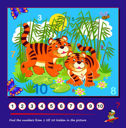 Logic puzzle game. Math education for young children. Find the numbers from 1 to 10 hidden in the picture. Developing counting skills. IQ test. Play online. Worksheet for kids.