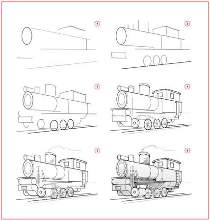 Page shows how to learn to draw sketch of locomotive. Creation step by step pencil drawing. Educational page for artists. Textbook for developing artistic skills. Online education. Ilustracja
