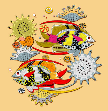 Abstract background with stylized fishes and shells. Maritime decoration. Modern print for t-shirts and fabric. Flat vector.