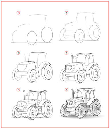 Page shows how to learn to draw sketch of tractor. Creation step by step pencil drawing. Educational page for artists. Textbook for developing artistic skills. Online education. Ilustracja