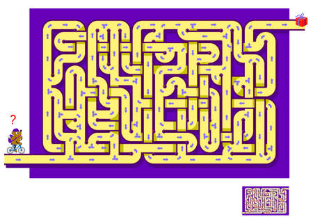 Logic puzzle game with labyrinth for children and adults. Help the little bear find the way till the gift. Worksheet for kids brain teaser book. IQ test. Play online. Vector illustration. Ilustracja