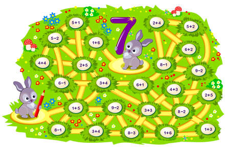 Math education for children. Logic puzzle game with maze for kids. Solve examples and help the rabbit find the way to his friend jumping only on the eggs with number 7. Play online. IQ test.