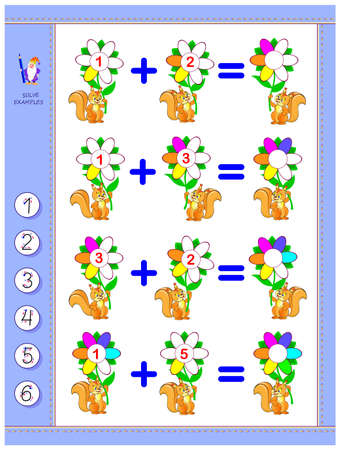 Educational page for children on addition. Solve examples and write the numbers in circles. Printable worksheet for kids math school textbook. Play online. IQ test. Mathematical exercise book.