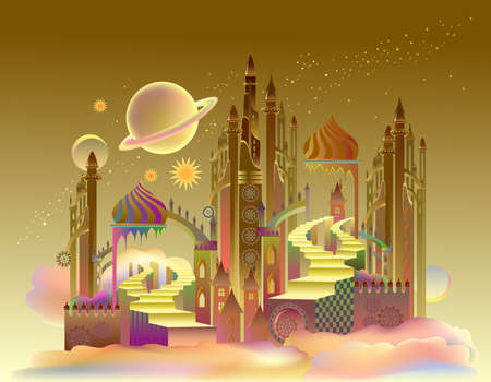 Futuristic fantastic landscape of a fairytale city on an alien planet. Flight to Mars. Abstract fantasy background of fairyland kingdom for banner or poster.