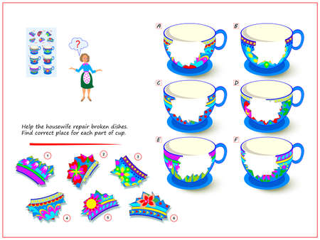 Logic puzzle game for children and adults. Help the housewife repair broken dishes. Find correct place for each part of cup. Page for kids brain teaser book. Developing spatial thinking. Play online.