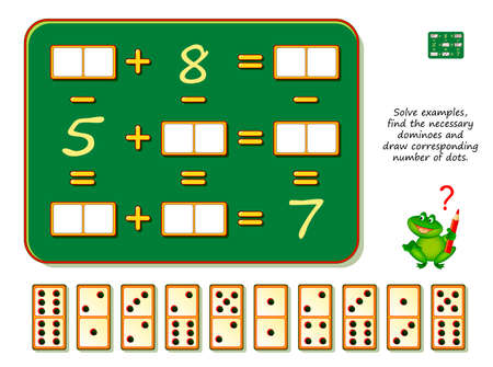 Mathematical logic puzzle game. Solve examples, find the necessary dominoes and draw corresponding number of dots. Brain teaser book. Math exercises on addition and subtraction. Play online.