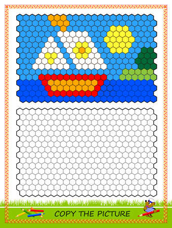 Educational game for kids. Copy picture. Printable worksheet for children school textbook. Draw the sailboat by example. Developing coloring and counting skills. Baby coloring book. Play online.