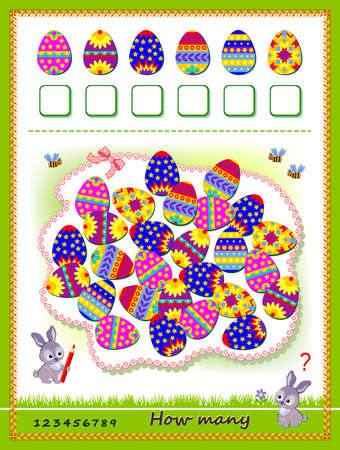 Math education for children. Count quantity of Easter eggs and write the numbers. Developing counting skills. Logic puzzle game. Worksheet for school textbook. Kids activity sheet. Play online.