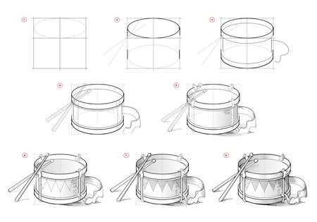 Page shows how to learn to draw sketch of drum. Creation step by step pencil drawing. Educational page for artists. Textbook for developing artistic skills. Online education. Ilustracja