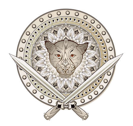 Luxury old war shield with swords. Fantasy drawing for game illustration. Decoration with fantastic animal head from ancient legend. Print for logo, fabric, embroidery, decoration.