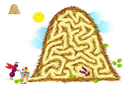 Logic puzzle game with labyrinth for children and adults. Help the ant deliver gifts to its kids in the anthill. Worksheet for kids brain teaser book. IQ test. Play online. Vector illustration.